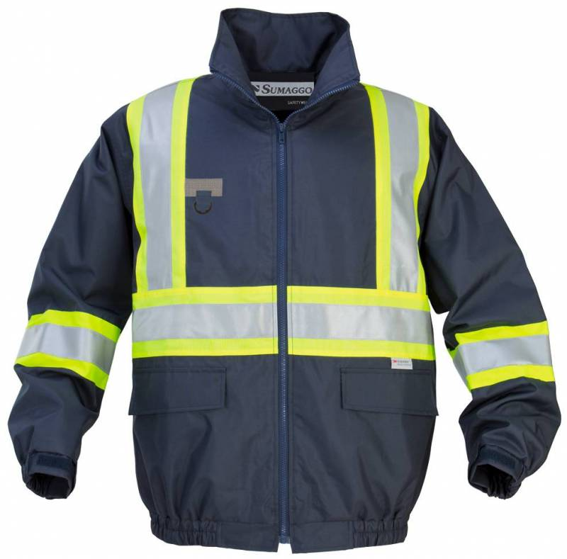 4803ed0343 New Bomber Safety Jacket with Lime Contrasting 3M Reflective Material