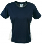 Ladies 2 Tone Round Neck Short Sleeve Shirt