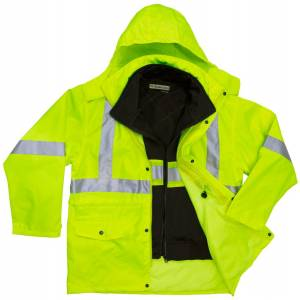 5025-51532 High Visibility 3-IN-1 Parka Jacket with Poly/Cotton Fleece Inner Jacket
